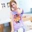 Tokyo Fashion เสื้อคอกลม สีม่วงอ่อน พิมพ์ลายสิงโต แต่งหมุดที่ไหล่ เก๋ๆ thumbnail 2
