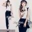 Lady Ribbon Black&White Jumpsuit คอเสื้อทรงปกเชิ้ต ตัดต่อกางเกงขายาว thumbnail 4