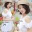 Lady Ribbon เดรสผ้าลูกไม้สีขาว ช่วงอกจีบระบาย เอวยางยืด thumbnail 2