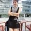 Lady Ribbon Mini Dress มินิเดรสแขนกุด สีทูโทน thumbnail 1