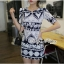 Lady Ribbon Mixed Print Mini Dress เดรสพิมพ์ลายวินเทจ สีกรมท่า thumbnail 1