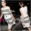Lady Ribbon Stripe Mini Dress มินิเดรสลายขวางขาว-ดำ thumbnail 7