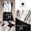 Lady Ribbon Black&White Jumpsuit คอเสื้อทรงปกเชิ้ต ตัดต่อกางเกงขายาว thumbnail 10