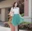 Cherry Dress เดรส ผ้าชีฟองเนื้อดี ตัดต่อสีทูโทน สีขาว-เขียว thumbnail 1