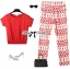 Lady Ribbon Set ชุดเซ็ทเสื้อและกางเกงพิมพ์ลายสีแดงสุดเปรี้ยว thumbnail 7