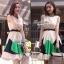 Partysu Vivid Dress เดรสเกาหลีแขนกุดสีครีม กระโปรงทรง A thumbnail 4