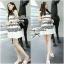 Lady Ribbon Stripe Mini Dress มินิเดรสลายขวางขาว-ดำ thumbnail 4