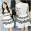 Lady Ribbon Stripe Mini Dress มินิเดรสลายขวางขาว-ดำ thumbnail 3