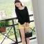 เสื้อ ผ้าตาข่าย แต่งยางยืดที่แขนและเสื้อ สีดำ สีส้ม thumbnail 6