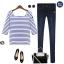 Cherry Dress เสื้อลายขวาง สีน้ำเงิน ผ้า Cotton ผสม Spandex thumbnail 7