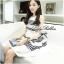 Lady Ribbon Stripe Mini Dress มินิเดรสลายขวางขาว-ดำ thumbnail 2