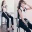 Lady Ribbon Black&White Jumpsuit คอเสื้อทรงปกเชิ้ต ตัดต่อกางเกงขายาว thumbnail 7