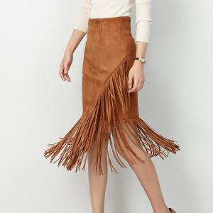 กระโปรง Leather Fringe Layer