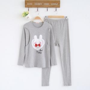 เสื้อให้นมลายกระต่าย+กางเกงสีเทา