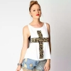 เสื้อยืดแขนกุด Leopard Print Cross Loose
