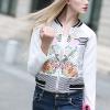 เสื้อแจ็คเก็ต Collar Long-Sleeved Flowers Splicing