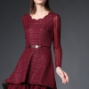 ชุดเดรส Red Wine Elegance Lace