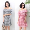 ชุดเดรส Strapless Cotton Plaid