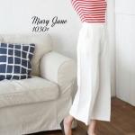 กางเกงขาบานผ้าเครป สีขาว 1030-12