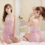 ชุดนอนคล้องคอรูปตัววี ผ้าซีทรู สีชมพูหวาน (พร้อม กกน.เข้าชุด)