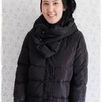 ((ขายแล้วครับ))((คุณThitithanจองครับ))ca-2904 เสื้อโค้ทขนเป็ดสีดำ รอบอก40