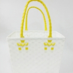 ตะกร้าจ่ายตลาด เล็ก สีขาว หูเหลือง (JLS-13)