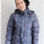 ((ขายแล้วครับ))((คุณวราภรณ์จองครับ))ca-2903 เสื้อโค้ทขนเป็ดสีเขียวนกยูงลายเทา รอบอก42