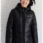 ((ขายแล้วครับ))((คุณสิริพรจองครับ))ca-2908 เสื้อโค้ทขนเป็ดสีดำ รอบอก42
