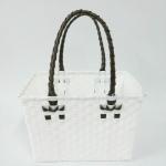 ตะกร้าจ่ายตลาด เล็ก สีขาว หูน้ำตาล (JLS-06)