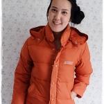 ((ขายนแล้วครับ))((คุณNINGจองครับ))ca-2887 เสื้อโค้ทขนเป็ดสีส้ม รอบอก37