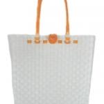 กระเป๋า ก้นเหลี่ยม หูสีส้ม (AU-F2)ขนาดโดยประมาณ กว้าง 10 cm.ยาว 35 cm.สูง 34 cm.