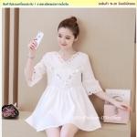 Preorder เดรสเกาหลี สีขาว S-XL