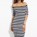 ชุดเดรส Off Shoulder Black & White Striped