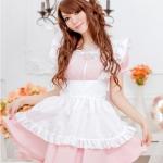 ชุดเมด ชุดสาวใช้ ชุดแม่บ้านแฟนซี น่ารักสไตส์สาวเกาหลี เดรสสีชมพูหวานผ้ากันเปื้อนขาว พร้อมคาดผมเข้าชุด