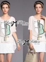 Lady Ribbon Dress Set ชุดเซ็ทเดรสปักเลื่อมสีขาว พร้อมเข็มขัด