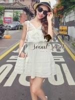 Seoul Secret เดรสผ้าคอตตอนสีขาว ทรงคล้องคอ แต่งระบาย