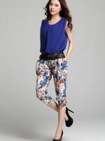 ชุดเซ็ตเสื้อผ้าชีฟองแต่งผ้าลูกไม้ กางเกงผ้าฝ้ายลายดอกไม้ Size M,L
