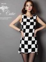 Checkerboard Dress เดรสลายตาราง ชายกระโปรงหน้าสั้นหลังยาว