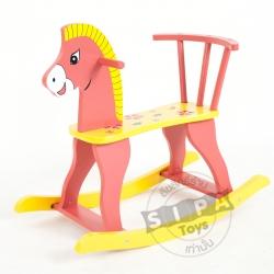 ม้าไม้โยกเยก..สีส้ม ฟรีค่าจัดส่ง