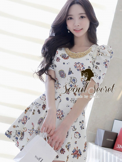 Seoul Secret Colorful Jewel Print Gold Bead Furnish Dress