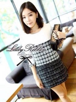 Lady Ribbon Black & White Tweet Mini Dress เก๋ เรียบหรู ไฮโซสุดๆ