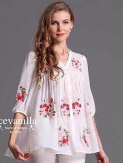 Ice Vanilla เสื้อเชิ้ตตัวยาว สีขาว ปักลายดอกไม้สีสดใส