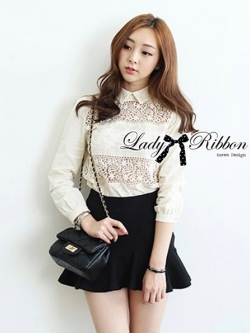 Lady Ribbon Cotton Lace Shirt เชิ้ตตัดต่อผ้าลูกไม้สุดหวาน