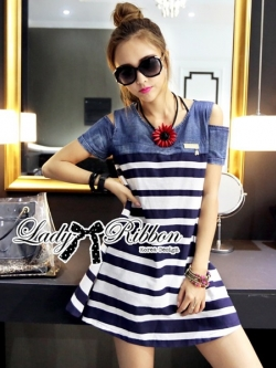 Lady Ribbon Casual Style Cut-Out Denim Striped Dress