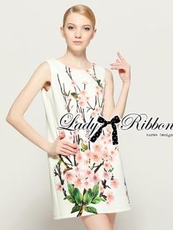 Lady Ribbon Sakura Printed Ruffle Sleeved Shift Dress