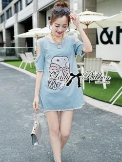 Lady Ribbon Snoopy Sequin Embroidered Denim Mini Dress