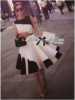 Lady Ribbon Minimal Monochrome Flared Dress