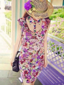 Blooming Floral Mini Dress มินิเดรส ลายดอกไม้ โทนสีชมพูหวานๆ