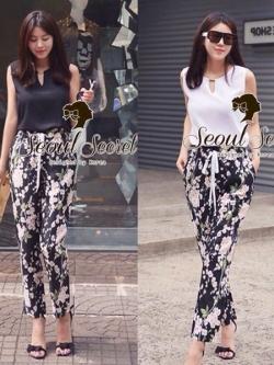Seoul Secret ชุดเซ็ทเสื้อ กางเกงขายาวลายดอกซากุระ