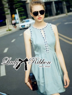Lady Ribbon Embellished and Embroidered Sleeveless Dress